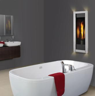 Zero clearance gas fireplace in the bathroom